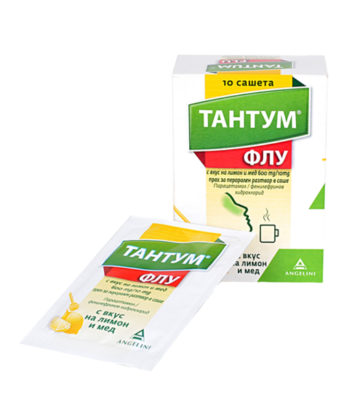 Тантум ФЛУ (Tantum FLU) Лимон и Мед сашета 600/10мг x10