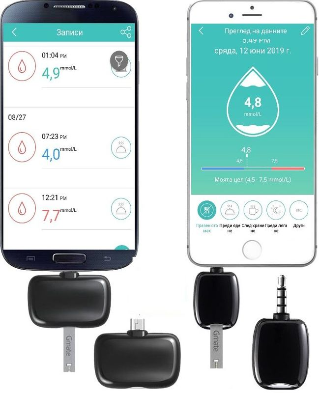 Глюкомер Gmate Smart за смартфон с 25 броя