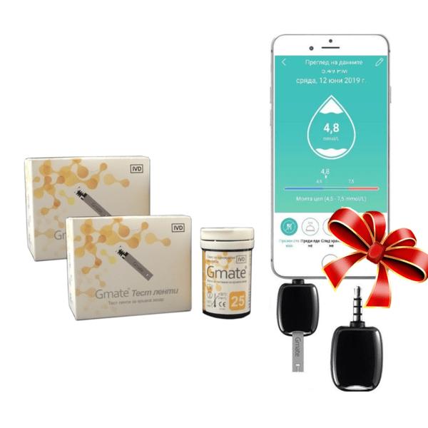 ПАКЕТ Глюкомер Gmate за смартфон с 125 броя тест ленти