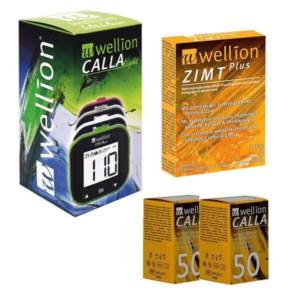ПАКЕТ глюкомер Wellion CALLA Light + 100 тест ленти за захар + Витамини за диабетици  Wellion ZIMT Plus