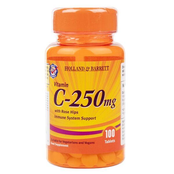 Holland & Barrett Витамин C и Шипки таблетки 250мг x100
