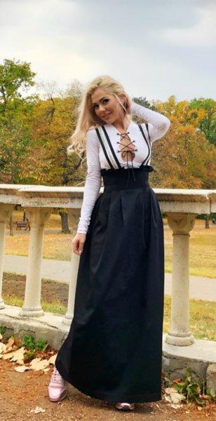 Черна пола с тиранти Vintage