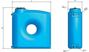 Вертикален призматичен резервоар за вода CPZ - 1500 L