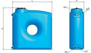 Вертикален призматичен резервоар за вода CPZ - 2000 L