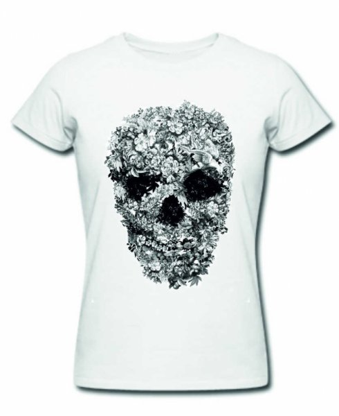 Тениска floral skull