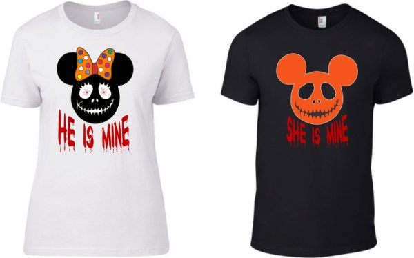 Тениски за двойки Halloween Mickey