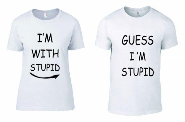 Тениски за двойки I am with stupid