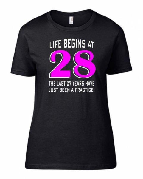 Тениска за рожден ден Life Begin at B-W-07