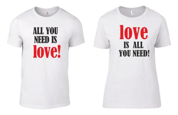 Тениски за двойки All You need is love