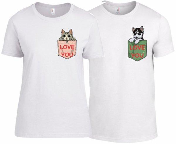 Тениски за двойки Pocket Love K-CP-69