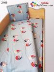 Бебешки спален комплект ранфорс Корабчета - син