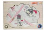 Комплект бебешко халатче и кърпи - бяло и розово