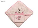 Квадратна кърпа за бебе с качулка Мече - розова