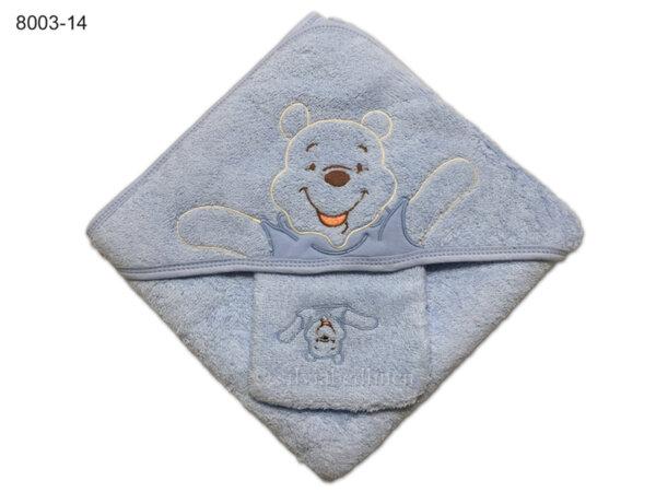 Квадратна кърпа за бебе с качулка Мече - синя