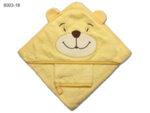 Квадратна бебешка кърпа с ушички Мече - жълта