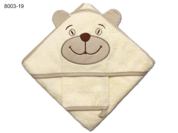 Квадратна бебешка кърпа с ушички Мече - кремава
