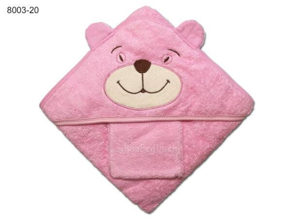 Квадратна бебешка кърпа с ушички Мече - розова