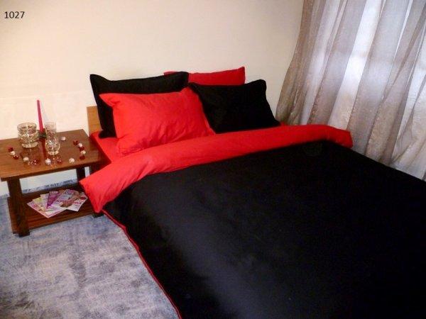 Спален комплект памучен сатен Двуцветен - черно и червено