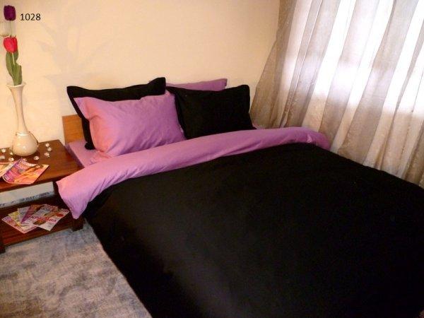 Спален комплект памучен сатен Двуцветен - черно и лилаво