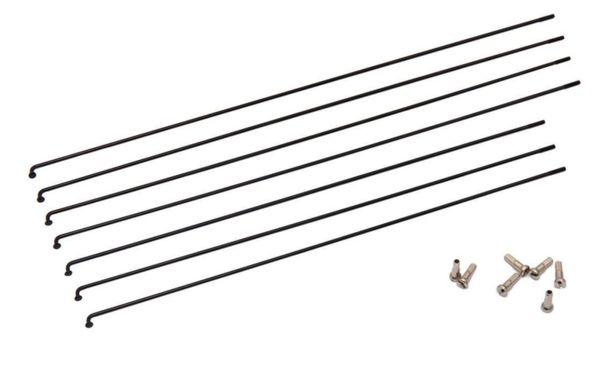 Черни спици от иноксова стомана INOX + месингови нипли / 252мм