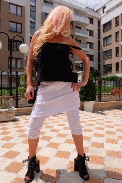 Бял ленен панталон-потур