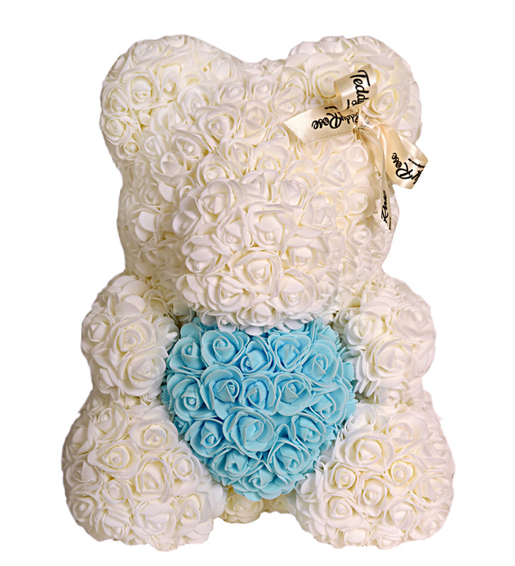 teddy rose with sky blue heart snow white