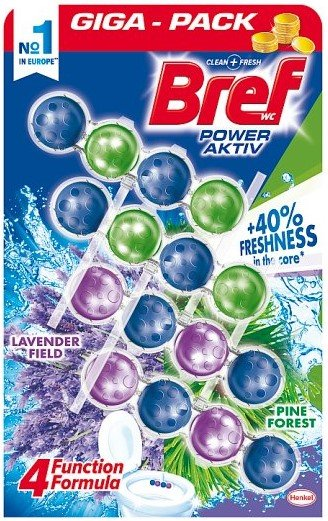Ароматизатор за тоалетна чиния Bref Power Aktiv Lavender & Pine 4 бр