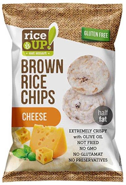 Пълнозърнест оризов чипс Rice Up с кафяв ориз и сирене 60гр