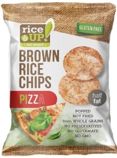 Пълнозърнест оризов чипс Rice Up с кафяв ориз и пица 60гр