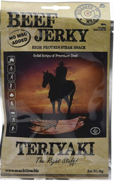 Сушено говеждо месо Teriyaki Beef Jerky Bullseye Meats 50 г