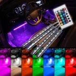 Интериорни RGB LED ленти за автомобил 4 бр. с дистанционно