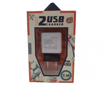 Fast charge адаптер 220V с два USB изхода 3А