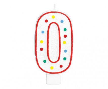 """Свещичка за рожден ден - цифра """"0"""" с шарени точки"""