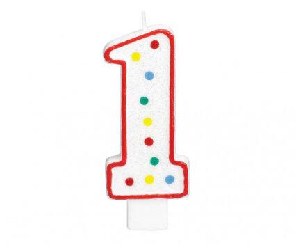 """Свещичка за рожден ден - цифра """"1"""" с шарени точки"""