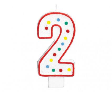 """Свещичка за рожден ден - цифра """"2"""" с шарени точки"""