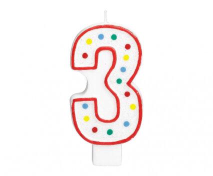 """Свещичка за рожден ден - цифра """"3"""" с шарени точки"""