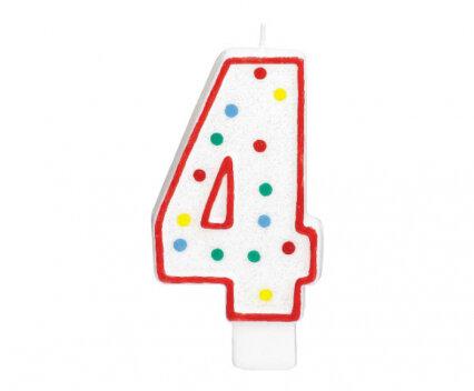 """Свещичка за рожден ден - цифра """"4"""" с шарени точки"""