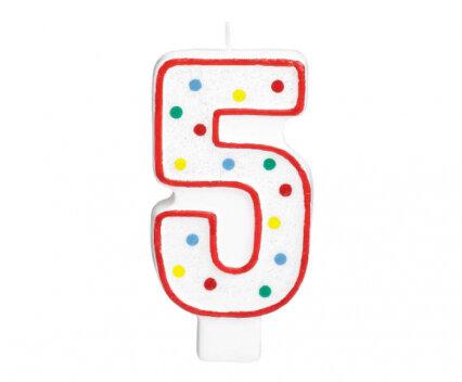 """Свещичка за рожден ден - цифра """"5"""" с шарени точки"""
