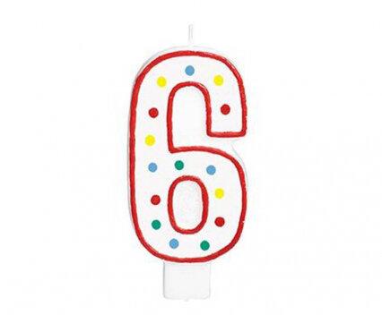 """Свещичка за рожден ден - цифра """"6"""" с шарени точки"""
