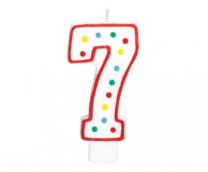 """Свещичка за рожден ден - цифра """"7"""" с шарени точки"""