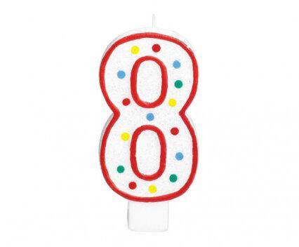 """Свещичка за рожден ден - цифра """"8"""" с шарени точки"""