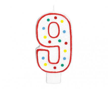 """Свещичка за рожден ден - цифра """"9"""" с шарени точки"""