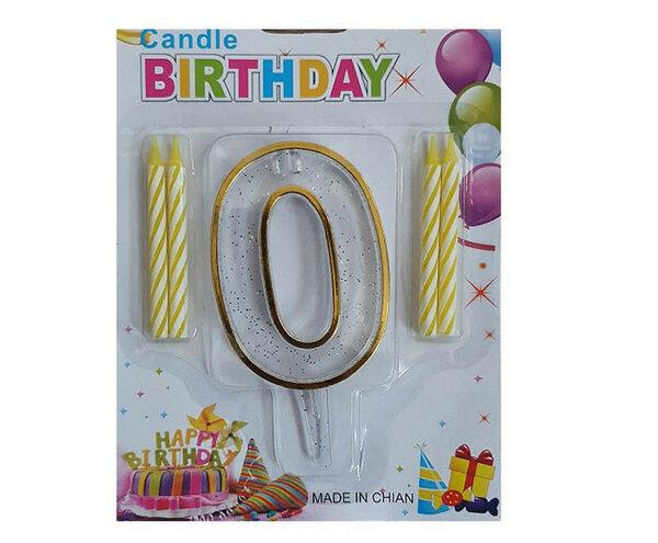 """Пластмасова цифра """"0"""" за рожден ден с брокат и златен кант"""