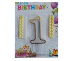 """Пластмасова цифра """"1"""" за рожден ден с брокат и златен кант"""