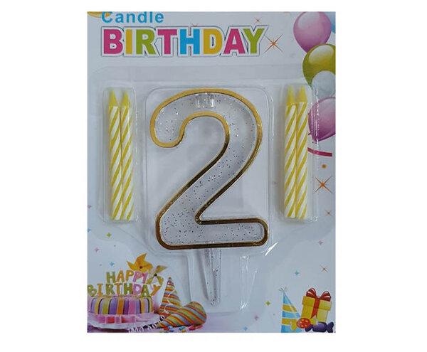 """Пластмасова цифра """"2"""" за рожден ден с брокат и златен кант"""