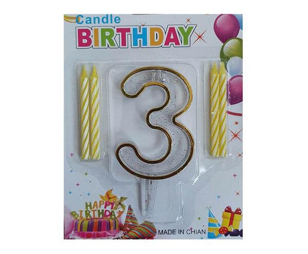 """Пластмасова цифра """"3"""" за рожден ден с брокат и златен кант"""