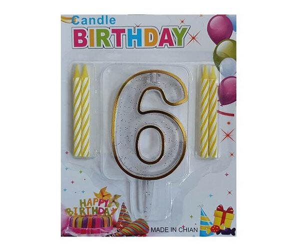 """Пластмасова цифра """"6"""" за рожден ден с брокат и златен кант"""