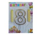 """Пластмасова цифра """"8"""" за рожден ден с брокат и златен кант"""