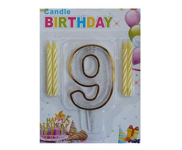 """Пластмасова цифра """"9"""" за рожден ден с брокат и златен кант"""