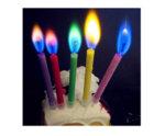 6 бр. свещички за торта с цветен пламък